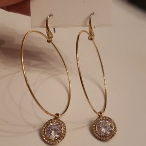 Michael Kors Nwt Gold Crystal Charm Hoop Earrings